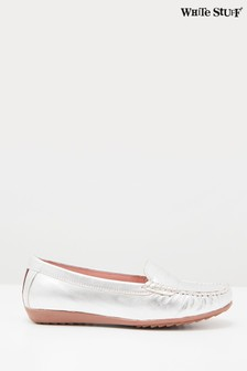 White Stuff Metallic Driving Leather Moccasin Shoes