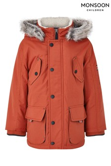 Monsoon Red Boys Parka Coat With Hood
