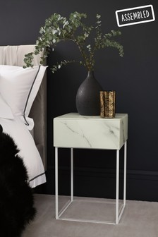 Marble Sloane 1 Drawer Bedside Table