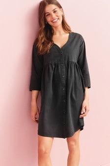 Black Maternity/Nursing Button Through Denim Dress