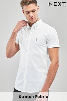 White Skinny Fit Short Sleeve Stretch Oxford Shirt