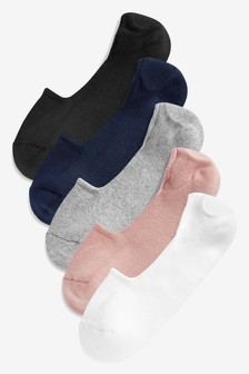 Multi Cushion Sole Invisible Trainer Socks Five Pack