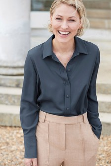 Navy Emma Willis Fabric Covered Button Shirt