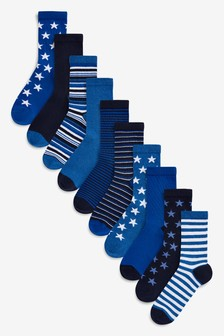 Blue Star Stripe Socks Ten Pack (Older)