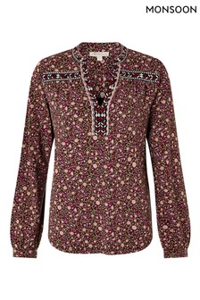 Monsoon Red Embroidered Trim Floral Blouse