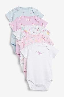 Watercolour Unicorn 5 Pack Short Sleeve Bodysuits (0mths-3yrs)