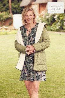 Khaki Green Savannah Miller Reversible Quilt And Borg Jacket