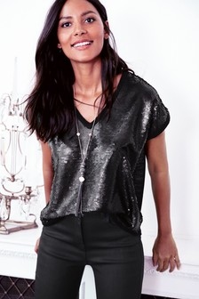 Black  Sequin V-Neck Shell Top