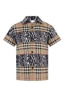 Boys Beige Check & Leopard Cotton Shirt