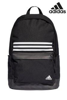 adidas Black Classic 3 Stripe Pocket Backpack