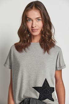 Grey Flocked Star T-Shirt