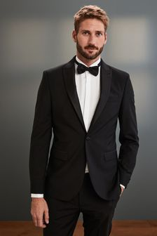 Black Regular Fit Signature Tuxedo Suit: Jacket