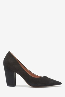 Black Leather Asymmetric Cut Court Shoes
