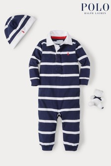 Ralph Lauren Navy Stripe Romper, Hat and Toy Gift Set