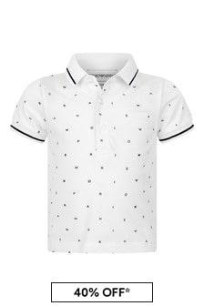 Baby Boys White Cotton Logo Polo Top