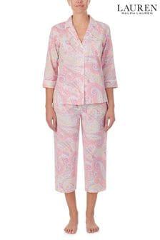 Lauren Ralph Lauren Pink 3/4 Sleeve Notch Collar Top & Long Pant Set