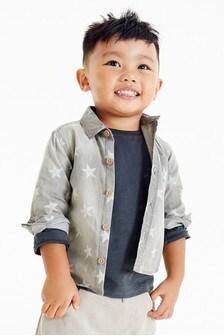 Grey Star Print Denim Shirt (9mths-7yrs)