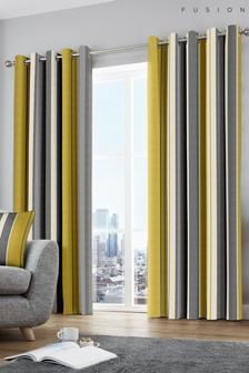 Fusion Whitworth Stripe Lined Eyelet Curtains