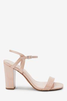 Nude Block Heel Delicate Sandals