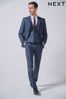 Blue Jacket Donegal Slim Fit Suit: Jacket
