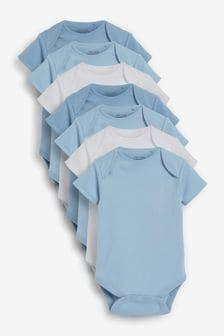 Blue/White 7 Pack Short Sleeve Bodysuits (0mths-3yrs)