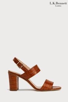 L.K.Bennett Brown Rhiannon Duel Strap Formal Sandals