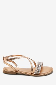 Rose Gold Cross Strap Sandals