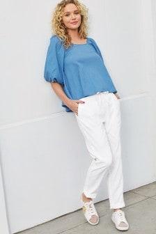 Bright White Linen Blend Taper Trousers