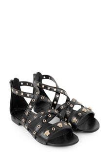 Girls Black Studded Leather Sandals