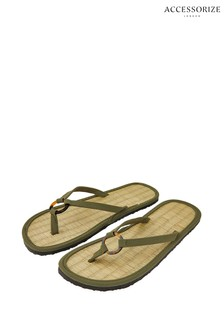 Accessorize Green Resin Ring Seagrass Flip Flops