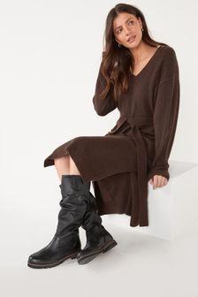 Black Regular/Wide Fit Forever Comfort® Slouched Knee High Boots