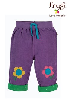 Frugi GOTS Organic Purple/Floral Cord And Jersey Reversible Trousers