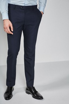 Navy Slim Fit Textured Suit: Trousers