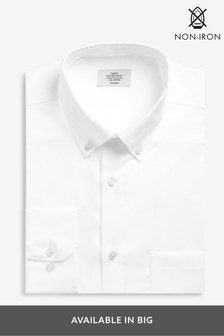 White Non-Iron Regular Fit Textured Button Down Shirt