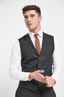 Brown Check Suit: Waistcoat