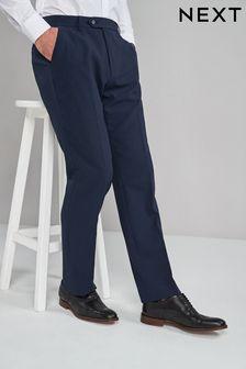 Navy Regular Fit Machine Washable Plain Front Trousers