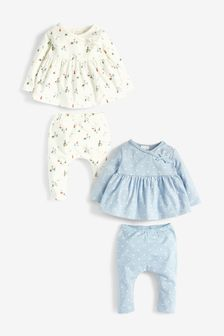 Blue 4 Pack GOTS Organic Spot/Boat T-Shirts And Leggings Set (0mths-2yrs)