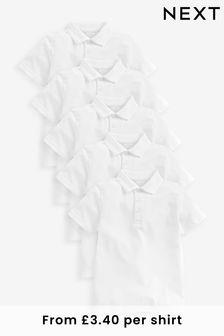 White 5 Pack Cotton Polo Shirts (3-16yrs)