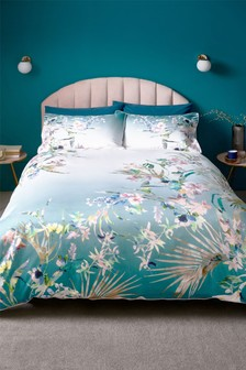 200 Thread Count 100% Cotton Sateen Eastern Tropics Duvet Cover And Pillowcase Set