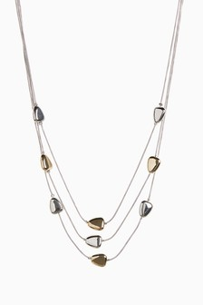 Silver Tone/Gold Tone Pebble Three Row Short Necklace