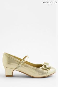 Accessorize Gold Bow Shimmer Flamenco Shoes
