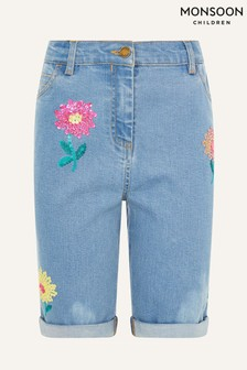 Monsoon Blue Sequin Flower Longline Denim Shorts