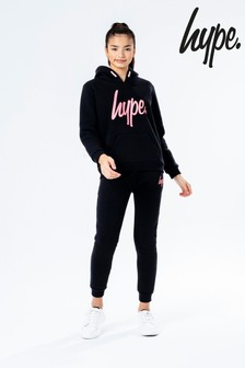 Hype. Black Overhead Hoody And Jogger Set