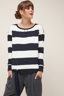 Navy/White Stripe  Tie Side Sweater