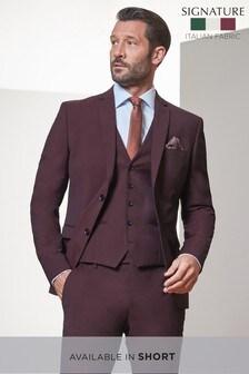 Burgundy Skinny Fit Tollegno Signature Suit: Jacket