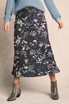 Grey Floral  Slip Skirt