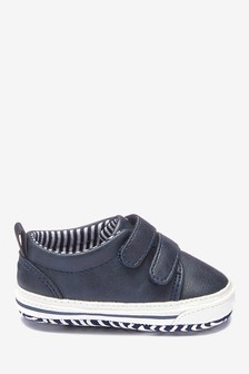 Navy Two Strap Pram Shoes (0-24mths)