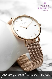 Personalised Women's Rose Gold Mesh Watch by Treat Republic
