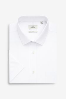 White Slim Fit Short Sleeve Easy Care Shirt