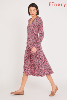 Finery Red Lilly Tea Dress